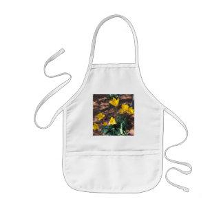 Avental Infantil tipo colorido amarelo flores da tulipa no