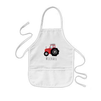 Avental Infantil Trator de fazenda vermelho do Doodle legal do