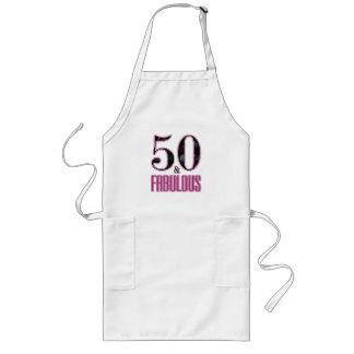 Avental Longo 50 & aniversário da tipografia preta cor-de-rosa