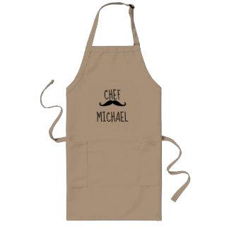 """Avental Longo Bigode personalizado do """"cozinheiro chefe"""", preto"""
