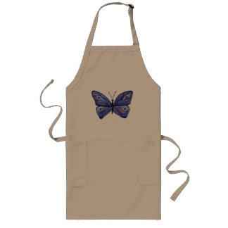 Avental longo da aguarela azul da borboleta