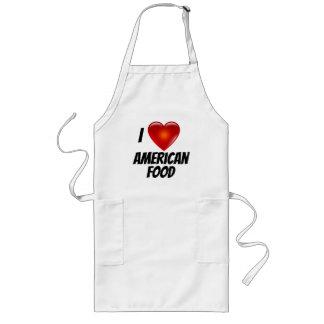 Avental Longo Eu amo a comida do americano do coração