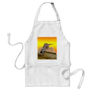 Avental Lontra que come peixes saborosos por sua lagoa,