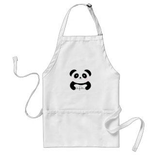 Avental Monograma feminino bonito do urso de panda do bebê