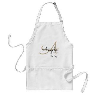 Avental monograma moderno para a culinária do cozinheiro