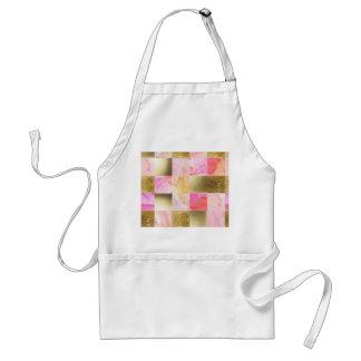 Avental ouro, pastels, cores de água, quadrados, colagem,