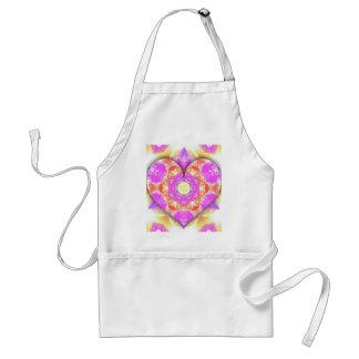 Avental Padrões legal do pêssego da lavanda do coração 3d