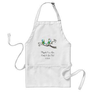 Avental Pássaros do vintage verde-maçã & Aqua