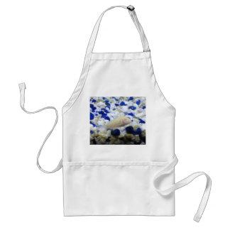 Avental Peixes seixos e do gato azuis e brancos do albino
