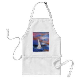 Avental Pintura do Seascape da vela do porto do por do sol