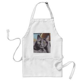 Avental Retrato cinzento do animal de estimação do gato