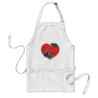 Avental Rosas ornamento e coração do vintage