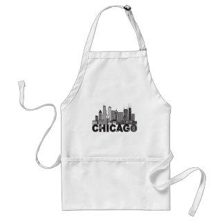Avental Texto da skyline da cidade de Chicago preto e