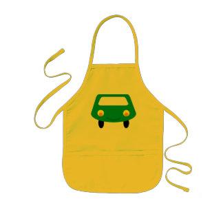 Avental verde de sorriso do carro dos desenhos