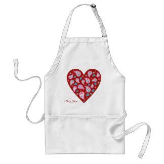 Avental vermelho do coração do pop de Paisley