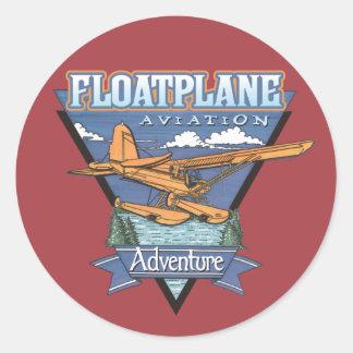 Aventura da aviação de Floatplane Adesivo Em Formato Redondo