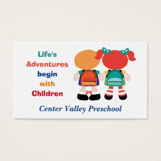 Aventura da vida com as crianças prées-escolar cartão de visitas