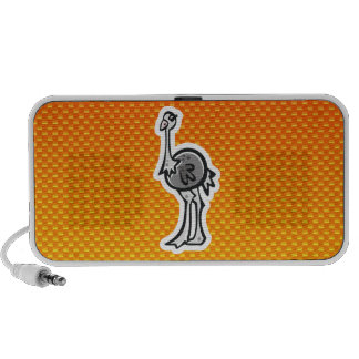 Avestruz bonito Amarelo alaranjado Caixinhas De Som Para Laptop