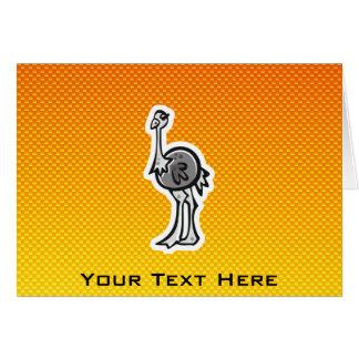 Avestruz bonito; Amarelo alaranjado Cartao