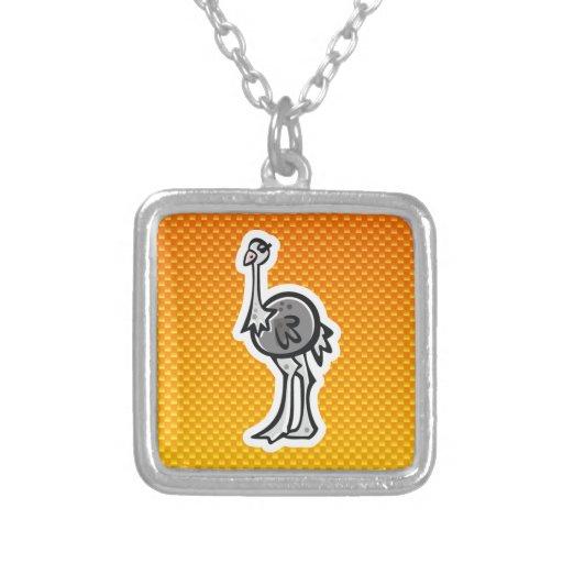 Avestruz bonito; Amarelo alaranjado Bijuteria Personalizada