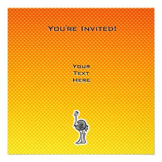 Avestruz bonito; Amarelo alaranjado Convite Personalizado