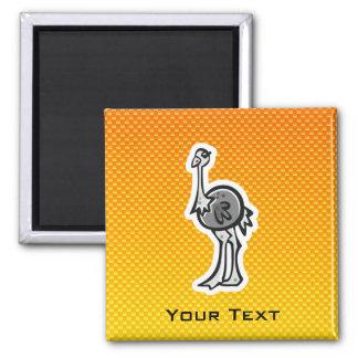 Avestruz bonito Amarelo alaranjado Imã De Refrigerador