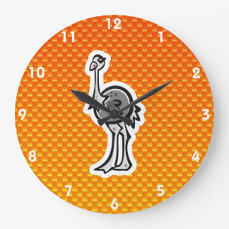Avestruz bonito; Amarelo alaranjado Relógio De Parede