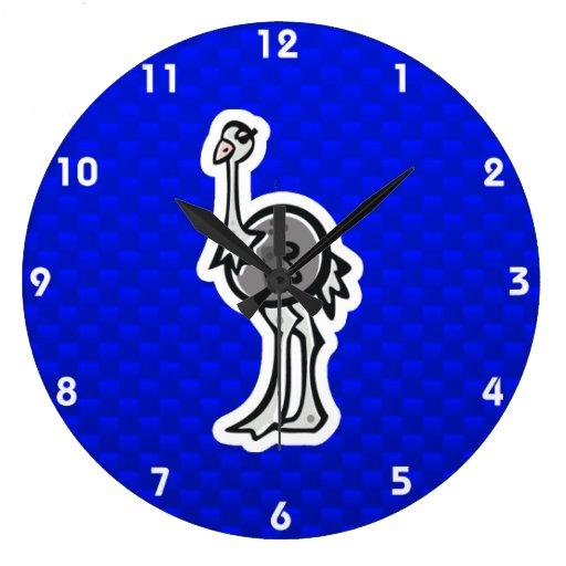 Avestruz bonito; Azul Relógios De Pendurar