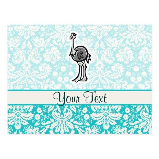 Avestruz bonito dos desenhos animados cartao postal