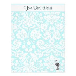 Avestruz bonito dos desenhos animados papéis de carta personalizados
