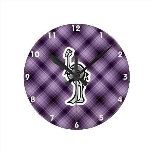 Avestruz bonito; Roxo Relógios De Pendurar
