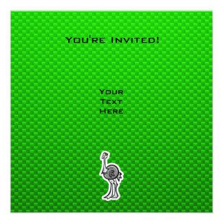 Avestruz bonito Verde Convite