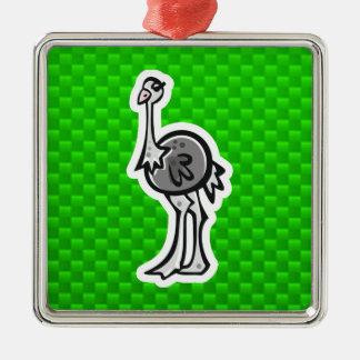 Avestruz bonito; Verde Ornamento Quadrado Cor Prata