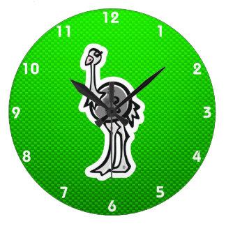 Avestruz bonito; Verde Relógios De Pendurar
