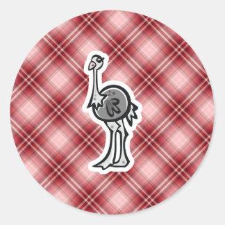 Avestruz bonito; Xadrez vermelha Adesivo