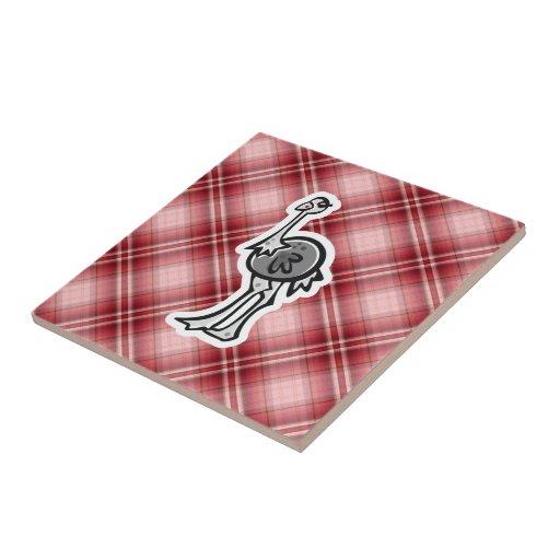 Avestruz bonito; Xadrez vermelha Azulejos De Cerâmica