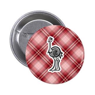 Avestruz bonito Xadrez vermelha Boton