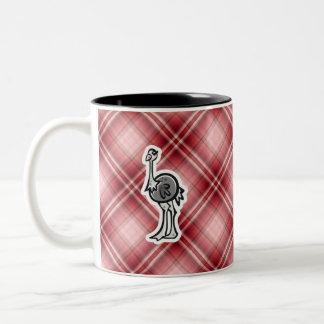 Avestruz bonito; Xadrez vermelha Caneca