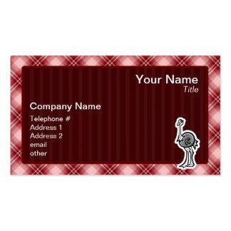 Avestruz bonito; Xadrez vermelha Cartão De Visita