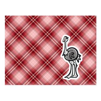 Avestruz bonito Xadrez vermelha Cartão Postal
