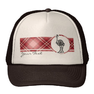 Avestruz bonito; Xadrez vermelha Bonés