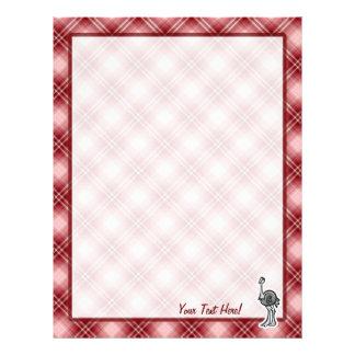 Avestruz bonito; Xadrez vermelha Papel De Carta Personalizados