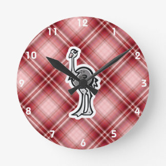 Avestruz bonito; Xadrez vermelha Relógios De Pendurar
