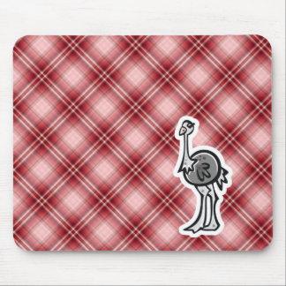Avestruz bonito; Xadrez vermelha Mousepad