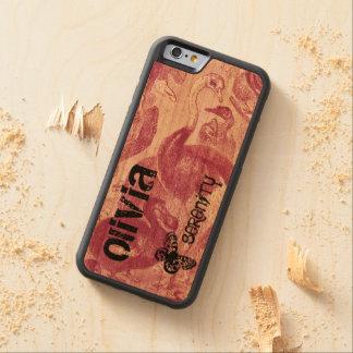 Avestruz roxa do pássaro do vintage na madeira capa de cerejeira bumper para iPhone 6