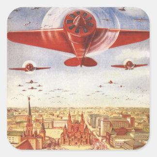 Aviação soviética adesivo quadrado