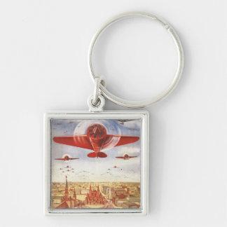 Aviação soviética chaveiro quadrado na cor prata
