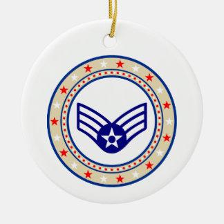 Aviador superior SrA E-4 da força aérea Ornamento De Cerâmica Redondo