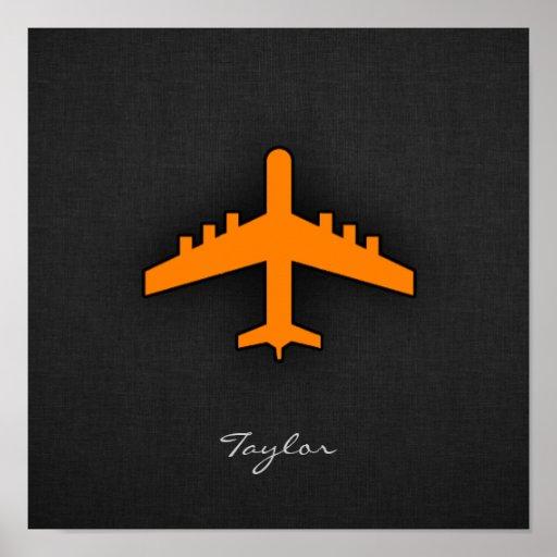 Avião alaranjado poster