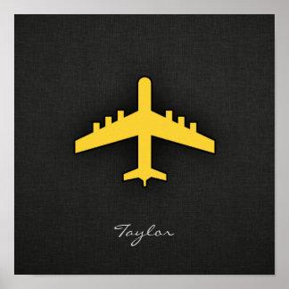 Avião ambarino amarelo poster